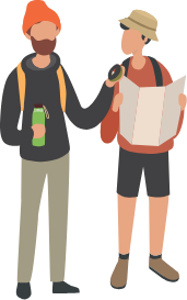 Two people with backpacks, a map, a compass and a waterbottle