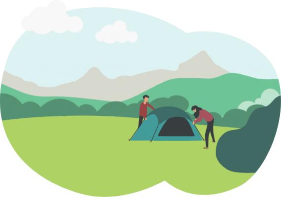 Man and woman setting up a tent outdoors