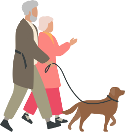 Elderly couple walking dog