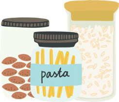 Pasta, grains and nuts stored in glass jars