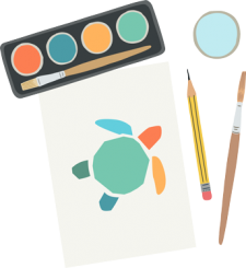A painting of the plastic free july turtle icon with paints, a paintbrush and a pencil