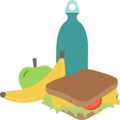 Sandwich, apple, banana and water bottle