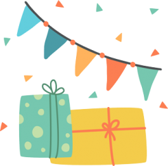 Party decorations and gifts in wrapping paper