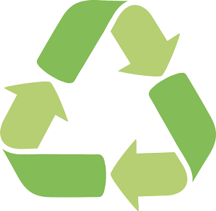 recycling symbol with three arrows forming a triangle