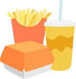 Single use fast food packaging for a burger, chips and drink