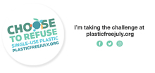 email signature 'choose to refuse single use plastic. plasticfreejuly.org' 'I'm taking the challenge at plasticfreejuly.org'