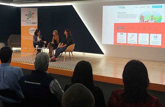 Rebecca Prince-Ruiz, Isabel Kruger and Kammi Rapsey on stage at the Plastic Free July campaign launch