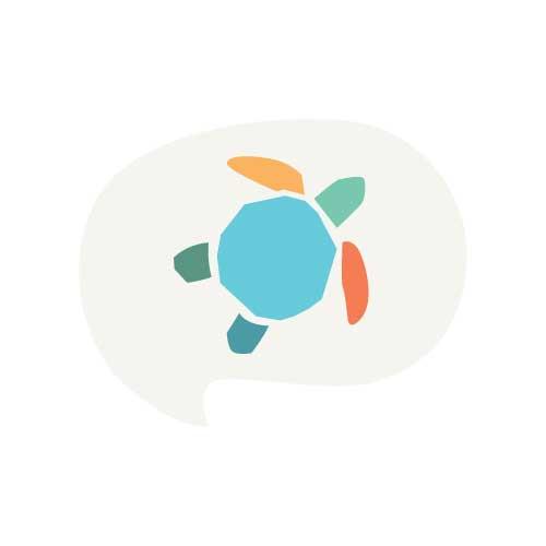 plastic free july turtle icon in a speech bubble