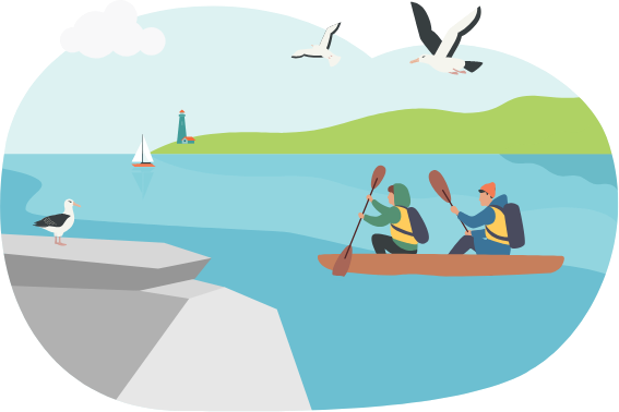 two people in a kayak rowing in a beautiful bay with albatrosses in the sky and on the rocks