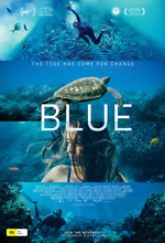 movie poster of blue the movie featuring underwater photos of a woman and a turtle in the ocean