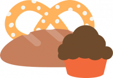 pretzel, bread and muffin