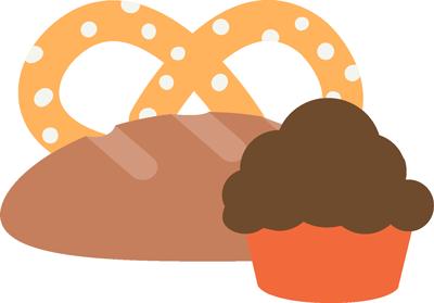 pretzel, bread and muffin