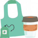 reusable bag and cup